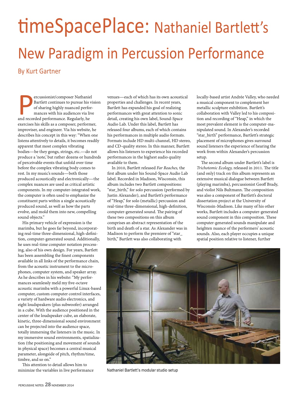 timeSpacePlace: Nathaniel Bartlett's New Paradigm in Percussion Performance