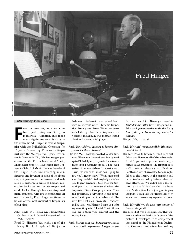 Interview with Fred Hinger