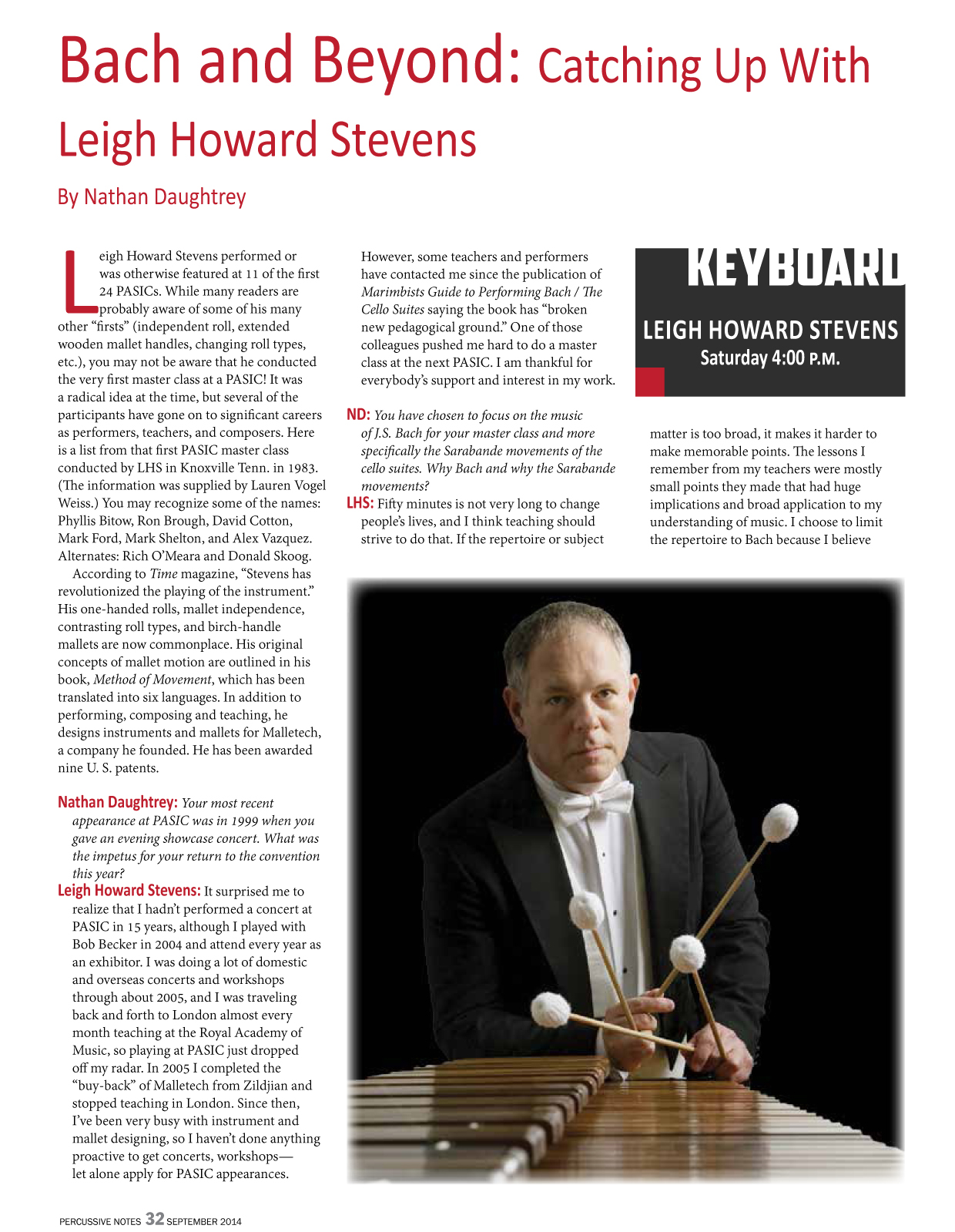 Bach and Beyond: Catching up with Leigh Howard Stevens